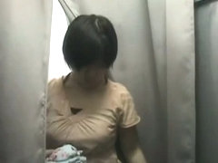 XXX spy cam changing room Asian with nice tits and short hair