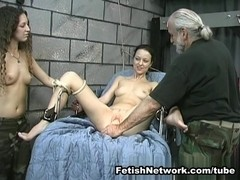 Cruel suspension of a hot naked babe