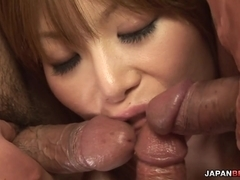 Group fucking with Rika Sakurai getting double penetrated