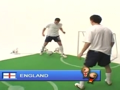 British Michelle B represents England in a football game
