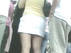 A people gathering underskirt candid voyeur spy video
