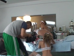 Naked Cindy Hope and Sophie Moone are being filmed