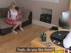 FakeAgentUK flexible blonde girl spreads her legs