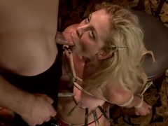 Gorgeous Big Tit Blonde Gets Fucked HARD in Tight Bondage