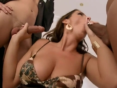 Lisa Sparkle having wild sex with two men