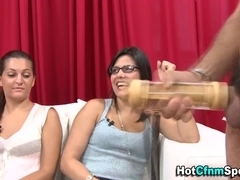 Cfnm babes get cumshot from loser