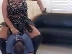 Breasty Goddess rides miniature dude