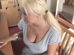 Plump breasted sweetie in a free down blouse video