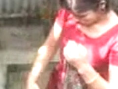 Desi Girl Bathing Outdoor