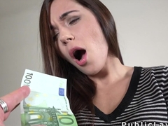 After flashing on the streets Euro babe fucking