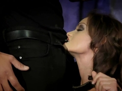 Enslaved Sophie Lynx is sucking two big dicks