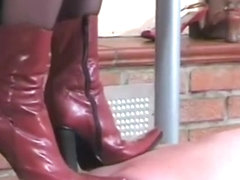 Spiked soled boot walk