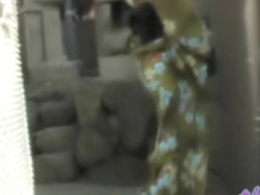Skinny brown-haired geisha makes some noises during sharking video