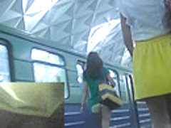 Upskirt view of the plump woman caught in public