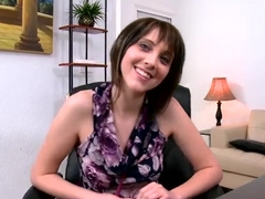 Petite amateur gets naked and naughty at interview