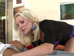 Precious blonde bitch Brandi Edwards bent over in doggy pose above her boyfriend and sucking his c.