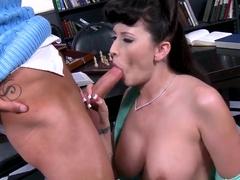 Glamorous babe Alexis Grace doing a splendid blowjob and fucking