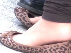 Candid nylon and flats shoeplay
