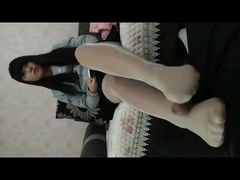 Chinese college girl footjob