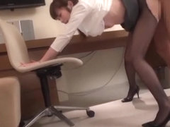 Charming Asian diva in office suit in a kiky group action