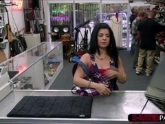 Sexy Cuban chick wants to sell an old tv for 300 bucks gets fucked
