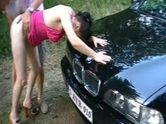 ugly Mature dogging in the forest
