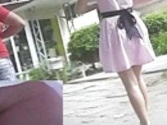 Recent white belt up petticoat voyeured