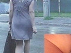 Admire hawt upskirt booty in grey panty