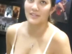 Down blouse deep cleavage