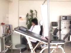 Saki gets her twat examined by gynecologist in voyeur film