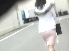 Street sharking with Japanese princess having her skirt taken masterly
