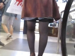 Stockings upskirt on escalator 2