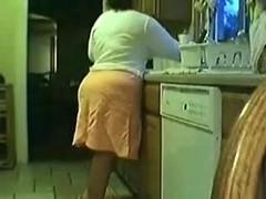 Aged couple kitchen fuck
