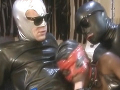 Latex guys smashing an extremely juicy ebony bitch