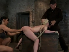 Cherry gets both ends brutally fuckedCherry is made to cum over & over, helpless in her bondage!