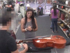 Brazilian lady pawns a stuff and rammed at the pawnshop