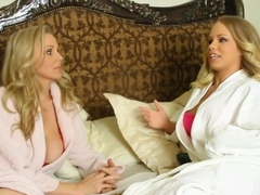 Horny pornstars Britney Young and Julia Ann in exotic milf, blowjob porn video