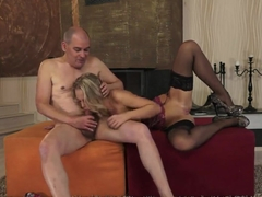 Vanda Lust banging with an old man and eating cum
