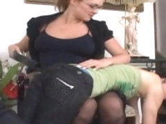 Spanked until her bottom is quite bruised and swollen