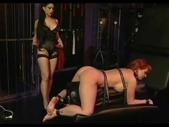 Busty buxom redhead tortured by another hottie