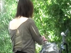 Unlocking her bicycle when she got skirt sharked by some guy