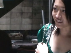 silky green dress downblouse on an hot Asian bit of pussy