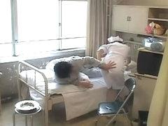 Japanese naughty nurse gets a big sticky internal creampie
