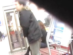Japanese sharking pro cums on a sweet chick in public