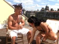 Fabulous pornstar Bettina Dicapri in exotic outdoor, blowjob porn clip