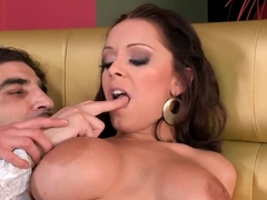 Naughty brunette Liza del Sierra got licked off on the couch!