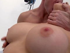 Johnny Sins plays with Kagney Linn Karter's boobs