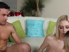 Hot sexy Natalia Starr and Riley Evans make a cool threesome with her boyfriend