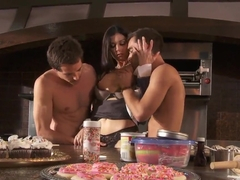 Lovely milf India Summer bares it all and gets double banged!
