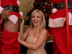 Lee Lexxus and two guys in Santa cloths banging hard